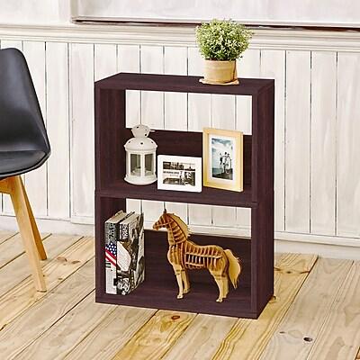 Way Basics Eco 2 Shelf Duplex Bookcase and Storage Shelf, Espresso Wood Grain