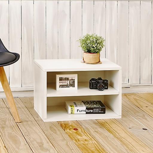 Way Basics 15 H Divider Blox Storage Shelf And Modern Eco Modular Bookcase White Wb Drect We