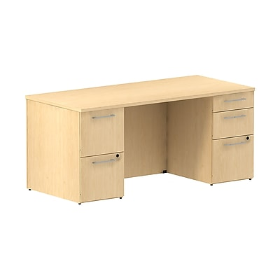 Bush Business Furniture Emerge 66W Office Desk w/ 2 Pedestals, Natural Maple (300SDDP66ACK)