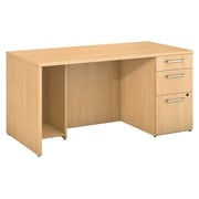 "Bush Business Furniture Emerge 60""W x 30""D Breakfront Desk with 3 Drawer Pedestal, Natural Maple (300SDSP60ACK)"