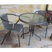Henryka 3-Piece Patio Bistro Set Round Table Steel Frame,  Grey (LC-307)