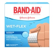 BAND-AID Brand WET-FLEX Bandages, Assorted, 60/Pack