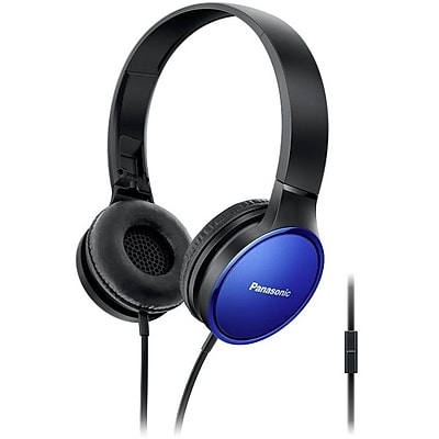 Panasonic Lightweight On-Ear Headphones with Mic and Controller, Blue, RP-HF300M-A