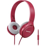 Panasonic Lightweight On-Ear Headphones with Mic + Controller, Pink, RP-HF100M-P