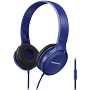 Panasonic Lightweight On-Ear Headphones with Mic + Controller, Blue- RP-HF100M-A