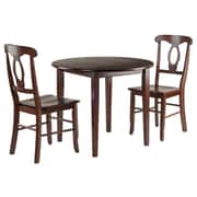 Winsome Wood Clayton 3-Piece Set Drop Leaf Table with 2 Keyhole Back Chairs (94388)