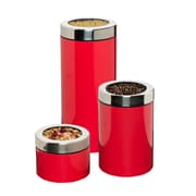 Honey Can Do S/3 Retro Canisters, Red