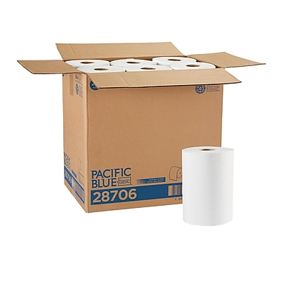 Pacific Blue Basic™ Paper Towel Roll by GP PRO, 1-Ply, White, 350 Feet/Roll, 12 Rolls/Carton (28706)