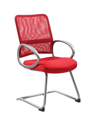 Boss Mesh Back with Red Finish Guest Chair (B6419-RD)