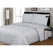 Couture Bedding Rich Printed Wrinkle Free 3-Piece Sheet Set, Grey Vector Pattern, Twin (SS-2200-GV-T)