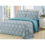 Dream Bedding Rich Printed Pinsonic Reversible 6-Piece Sheet and Quilt Set, Queen (QS-PQS1-Q)
