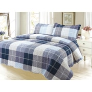 Dream Bedding Rich Printed Pinsonic Reversible Luxury 2-Piece Quilt Set, Square Pattern