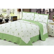 Beauty Sleep Luxury Embroidered Reversible 2-Piece Quilt Set, Green, Twin (QS-EQ13GRN-T)