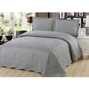 Beauty Sleep Luxury Embroidered Reversible 3-Piece Quilt Set, Grey