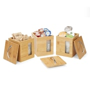 Mind Reader 3-Piece Bamboo Square Canisters with Removable Plastic Labeled Holders, Brown (BMCWIND3-BRN)