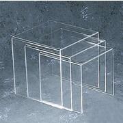 "Tripar International TR232147 3-Piece Clear Acrylic Square Riser Set, 10"", 11"" and 12"""