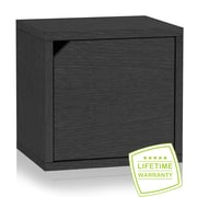"Way Basics 12.6""H x 13.4""W Modular Connect Eco Storage Cube with Door, Black Wood Grain (C-DCUBE-BK)"