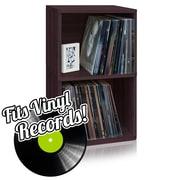 Way Basics Eco Friendly Vinyl Record Cube 2 Shelf, Espresso Wood Grain