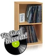 Way Basics Eco Friendly Vinyl Record Cube 2 Shelf, Natural Wood Grain
