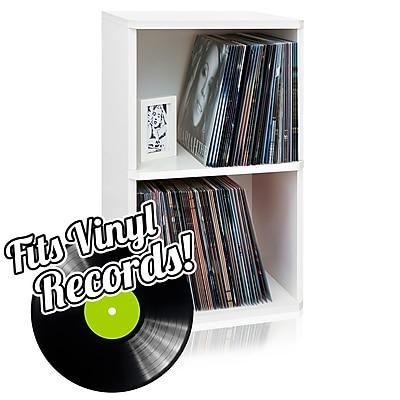 Way Basics Eco Friendly Vinyl Record Cube 2 Shelf, White