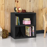 "Way Basics 24.7""H Webster 2-Shelf Bookcase Organizer and Modern Eco Storage Shelf Unit, Black Wood Grain (WB-2SHELF-BK)"