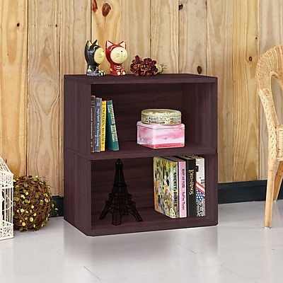 Way Basics Eco Friendly Webster 2-Shelf Bookcase Organizer and Storage Shelf Unit, Espresso Wood Grain