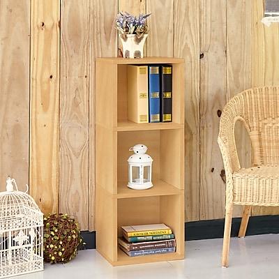 Way Basics Eco Friendly Wynwood 3-Cube Narrow Bookcase Organizer and Storage Shelf Unit, Natural Wood Grain