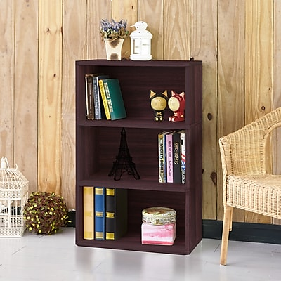 Way Basics Eco Friendly Trinity 3-Shelf Bookcase Organizer and Storage Shelf Unit, Espresso Wood Grain