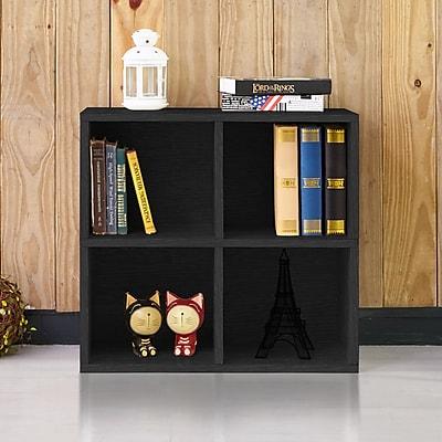 Way Basics 4 Cubby Eco Bookcase, Stackable Organizer and Storage Shelf, Black Wood Grain
