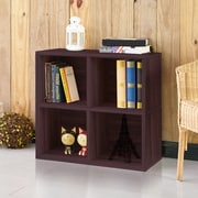 "Way Basics 24.8""H 4 Cubby Bookcase, Stackable Organizer and Modern Eco Storage Shelf, Espresso Wood Grain (WB-4CUBE-2-EO)"