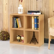 Way Basics 4 Cubby Eco Bookcase, Stackable Organizer and Storage Shelf, Natural Wood Grain