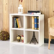 "Way Basics 24.8""H 4 Cubby Bookcase, Stackable Organizer and Modern Eco Storage Shelf, White (WB-4CUBE-2-WE)"