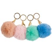 Porte-clés à pompon, couleurs pastel variées