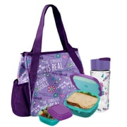 Fit & Fresh Tracey Purple Girl Talk Lunch Bag with Reusable Containers and Ice Pack