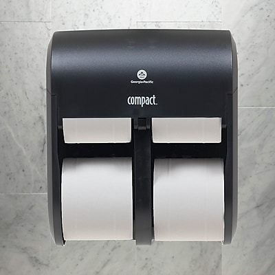 "Compact® 4-Roll Quad Coreless Toilet Paper Dispenser by GP PRO, Black, 11.750"" W x 6.900"" D x 13.250"" H (56744A)"