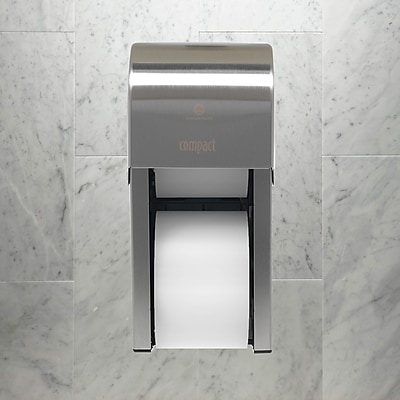 """Compact® 2-Roll Vertical Coreless Toilet Paper Dispenser by GP PRO, Stainless, 6.000"""" W x 6.500"""" D x 13.500"""" H (56782)"""