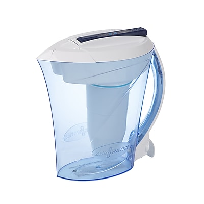 ZeroWater 10-Cup Ready-Pour Pitcher with Free TDS Light Up Indicator, Blue/White (ZD010RP)