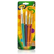 Crayola Big Paintbrush St Round 4PK. (BIN053521) Sold as a set of 4 packs, each pack has 4 for a total of 16 paintbrushes.