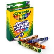 Crayola Washable Crayons 16CT Large, Assorted. Sold as a set of 6, each box has 16 crayons for a total of 96 (BIN523281)