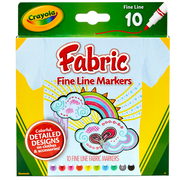 Crayola fine Line Fabric Markers 10 Colors. Sold as a set of 4, each pack has 10 markers for a total of 40 (BIN588626)