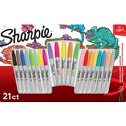 Sharpie The Original Fine Tip Permanent Markers, Assorted Original and Neon Colours , 21/Pack