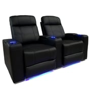 Valencia Piacenza Leather Air Manual Home Theater Recliner With LED Lights, Black