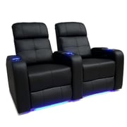 Valencia Verona Leather Air Home Theatre LED Manual Recliner, Black