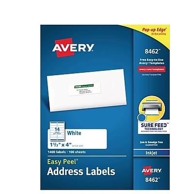Avery Easy Peel White Address Labels, Sure Feed Technology, Inkjet, Permanent, 1-1/3