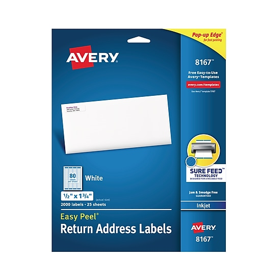 avery 1 2 x 1 3 4 inkjet return address labels with easy peel