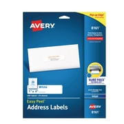 "Avery Easy Peel White Address Labels, Sure Feed Technology, Inkjet, Permanent, 1"" x 4"", 500 Labels (8161)"