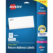 "Avery Easy Peel White Return Address Labels, Sure Feed Technology, Laser, Permanent, 2/3"" x 1-3/4"", 1,500 Labels (5195)"