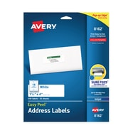 """Avery Easy Peel White Address Labels, Sure Feed Technology, Inkjet, Permanent, 1-1/3"""" x 4"""", 350 Labels (8162)"""