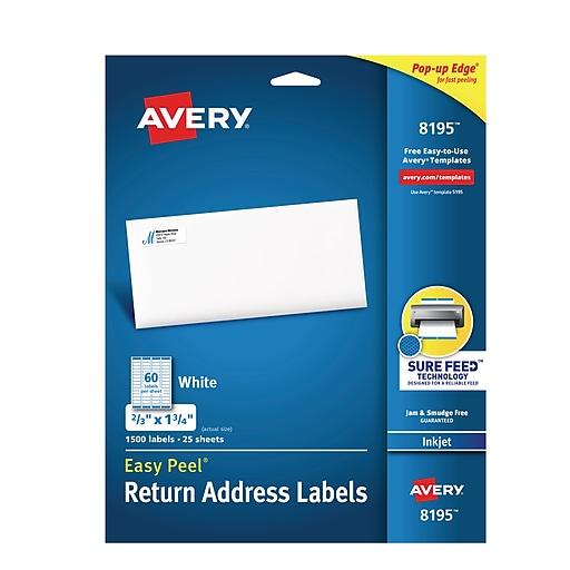 Avery 8195 White Inkjet Address Labels With Easy Peel 23 X 1 3