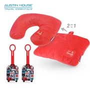 Austin House - Ensemble comprenant oreiller transformable et 2 étiquettes de bagage en caoutchouc (AHB00026)